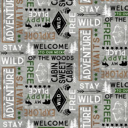 Cabin Welcome -Grey Word Flannel