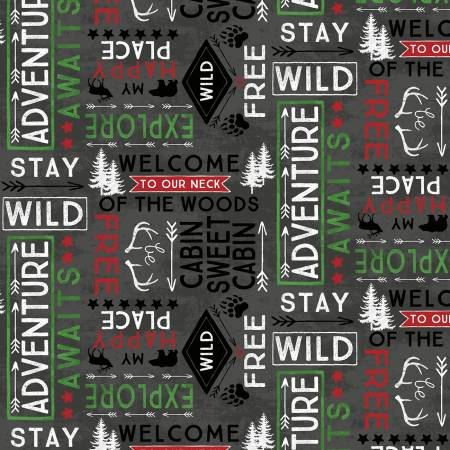 Black Word Toss Flannel Cabin Welcome 36104 911