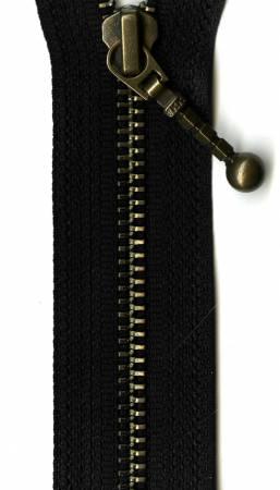 Antique Brass 1-Way Separating Zipper  24in Black