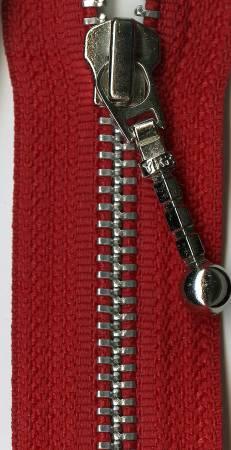 Antique Brass 1-Way Separating Zipper  26in Red