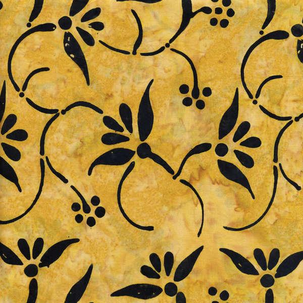 Golden Floral Swirls Batik
