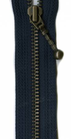 7in Navy Zipper Antique Brass Closed Bottom