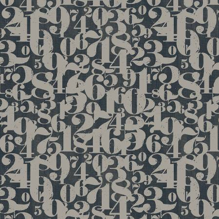On Time Flannel : Smoke Numerals Flannel - #37358F-6 - Whistler Studios
