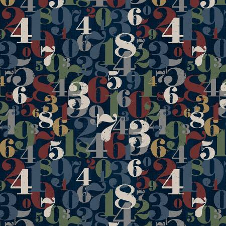 On Time Flannel : Navy Numerals - #37358F-7 - Whistler Studios