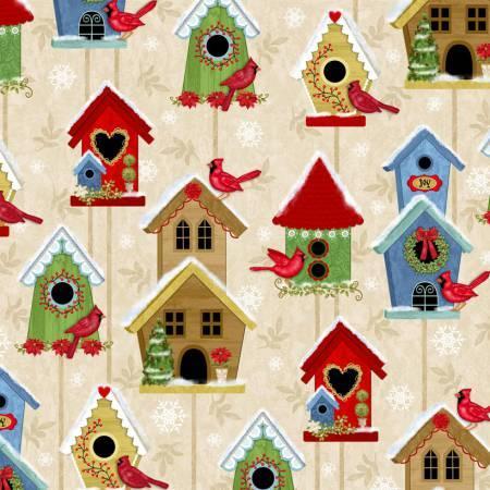 Winter Joy Cream Bird Houses