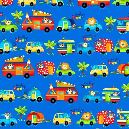 Jungle Camp Light Blue Animals in Vehicles