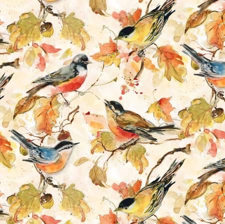 Cream Birds Allover 3023