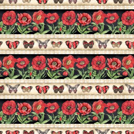 Multi Harlequin Poppies Repeating Stripe