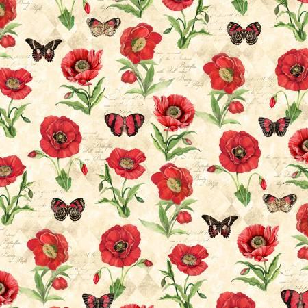 Cream Poppies & Butterflies