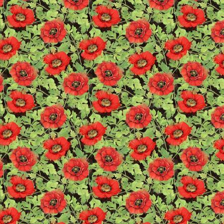 Wilmington Harlequin Poppies Poppies and Leaves - Black