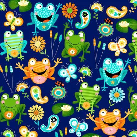 Toad-Ally Terrific 3963-77 Navy w/frogs and butterflys