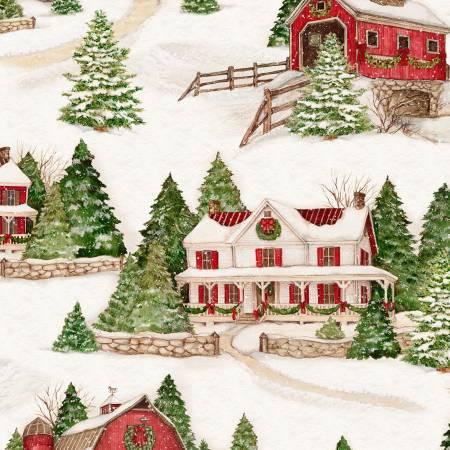 Evergreen Farm - barn & house snow scene