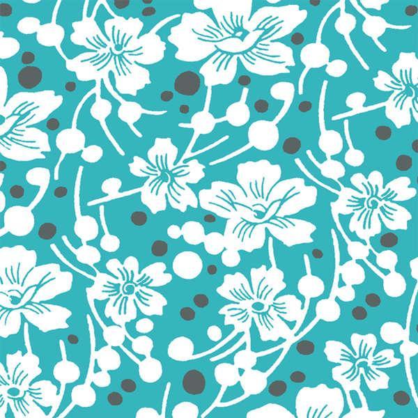 Aqua Flowers & Pebbles 399824 1014