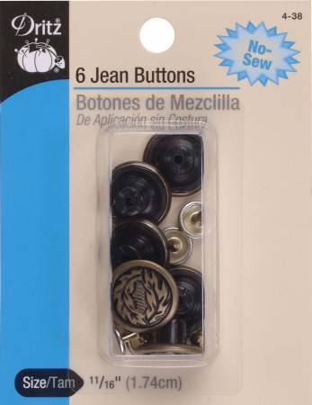 Buttons Jean Antique Brass - 11/16in