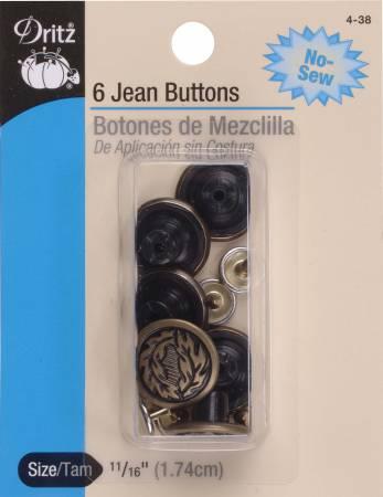 Dritz Buttons Jean Antique Brass - 11/16in
