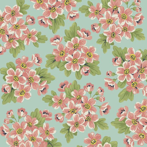 Dover Flannel - Aqua Packed Floral
