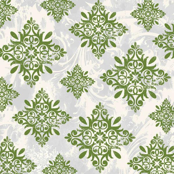 Large Green Medallion on White:  Seasons Greetings by Whistler Studios for Windham Fabrics