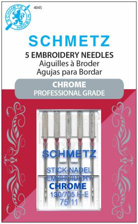 Schmetz Needle 4045 Chrome Embroidery 5 ct, Size 75/11