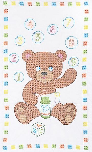 4060-547 Bear With Bubbles 40in x 60in  Crib Quilt Tops