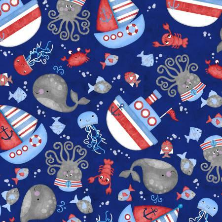 Anchors Away Navy Tossed Sea Motifs 4072-77