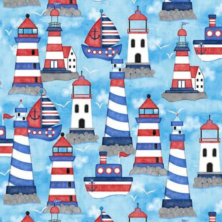 anchors Away Blue Light Houses & Boats 4076-11
