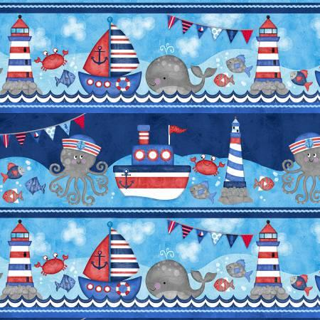 Anchors Away Navy/Red Large Sea Stripe 4078-78