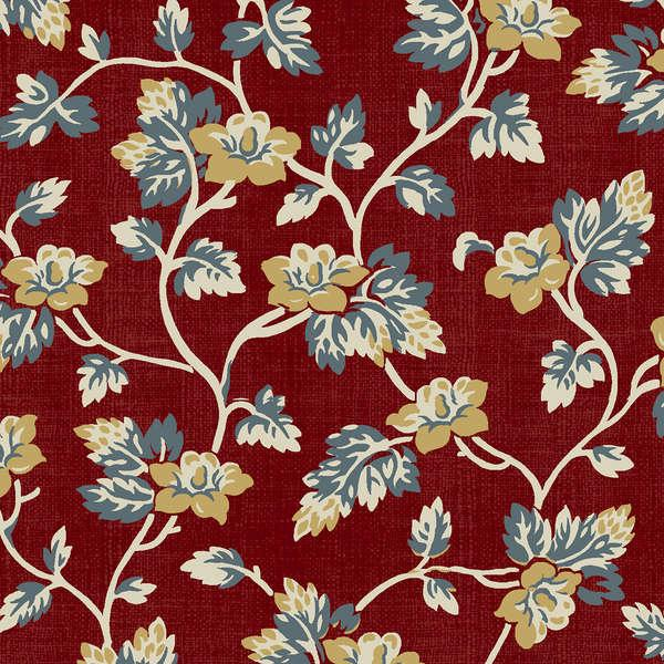 Yellow and Grayish Blue Floral Vines on Red:  Sophie by Mary Koval for Windham