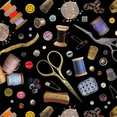 Black Sewing Supplies Tossed