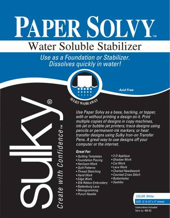 Paper Solvy Water Soluble 8.5in x 11in 12 ct