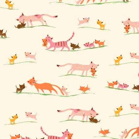 Heather Ross 20th Anniversary Collection Cream Morning Cats