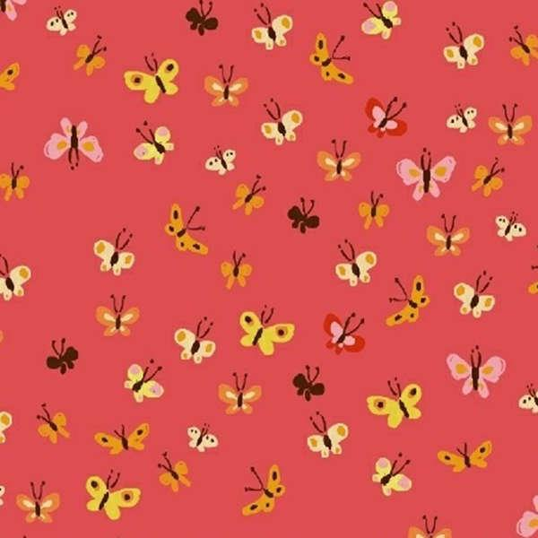 40933A 9 Coral Butterflies Heather Ross 20th Anniversary by Heather Ross for Windham Fabrics. 100% cotton 43 wide