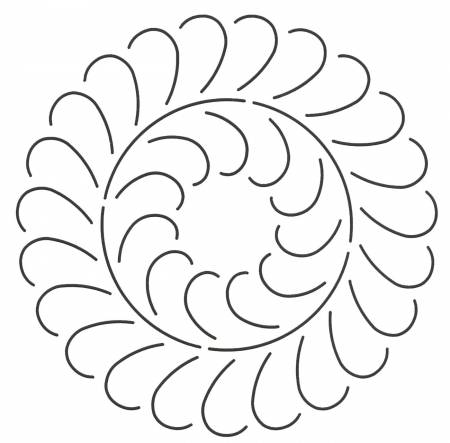 Quilt Stencil Feather Circle Design 8in