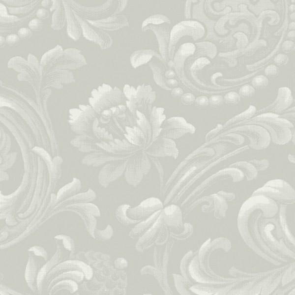 Silver Floral Brocade
