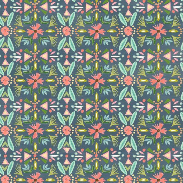 Blush & Blooms Indigo Floral Stripe 41649-2