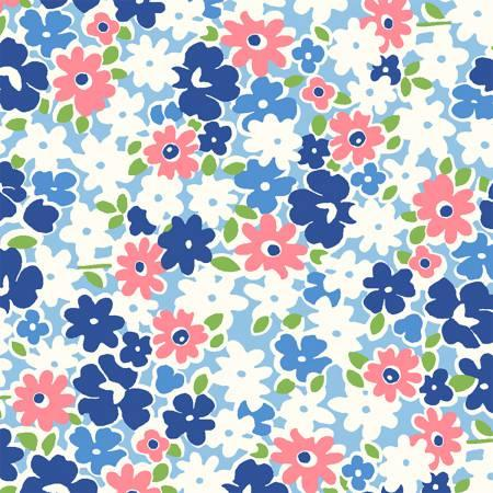 Feedsack Blue and Pink Flowers