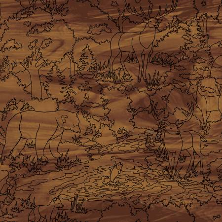 4196 33 Scenic Linework Mosaic Forest for Studio E Fabrics. 100% cotton 43 wide