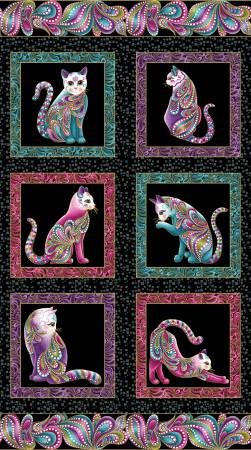 Black/Multi Cat-i-tude Panel w/Metallic