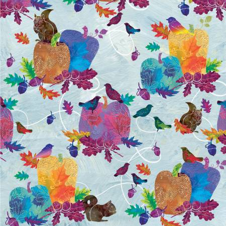 Autumn Hues - Blue Pumpkins & Birds