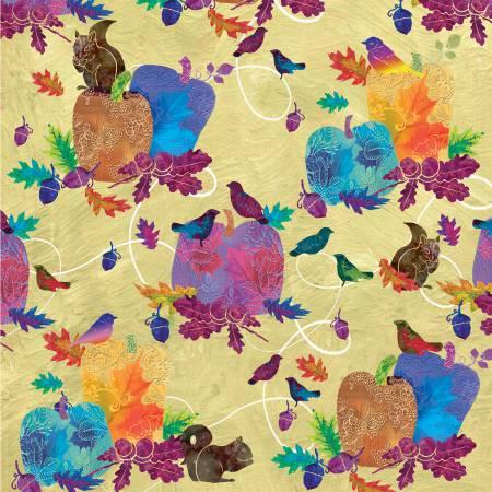 STUDIO- Autumn Hues Yellow W/Multi Color Pumpkins & Birds