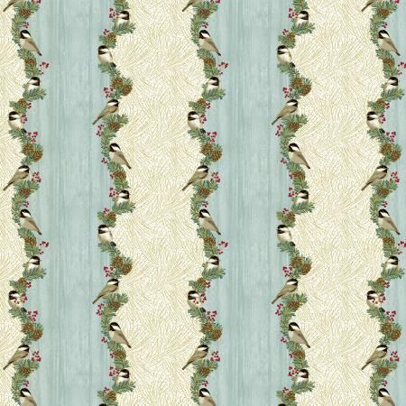 Festive Chickadees-Festive Chickadees Stripe w/Metallic-Sea Mist