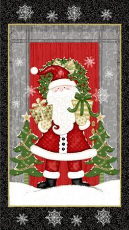 Studio E Winter Greetings 4201P-99 Black Santa Panel 24in x 44in