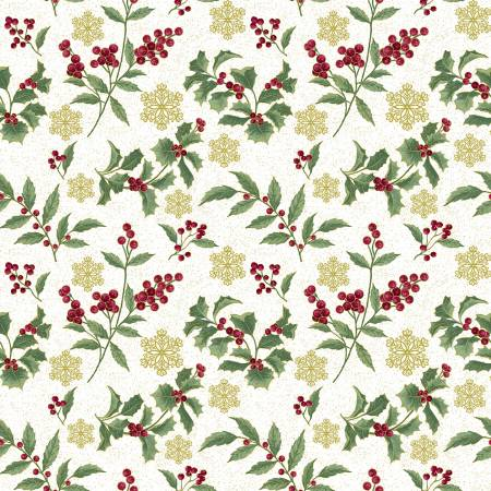 Festive Chickadees-Festive Holly Toss w/Metallic-White