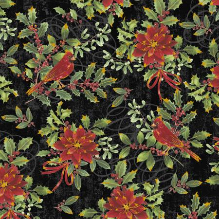 Noel-Black Cardinal Floral w/Metallic 42394M-2