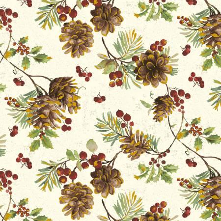Noel-Linen White Pinecones w/metallic