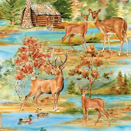 Deer Meadow Yardage: Coordinate for Deer Meadow Panel by Cynthia Coulter for Wilmington Prints