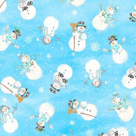 Snow Valley Dark Blue Tossed Snowmen