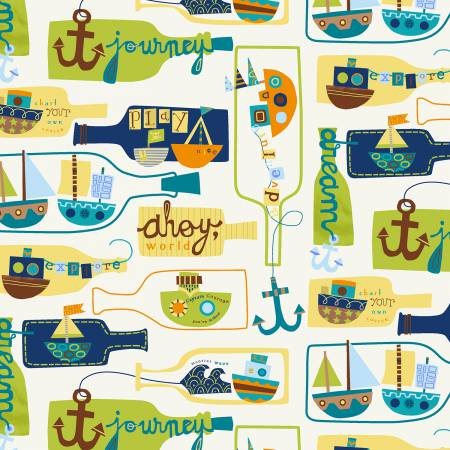 Boats and Messages in Bottles on White:  Seaside by Jill McDonald for Windham Fabrics