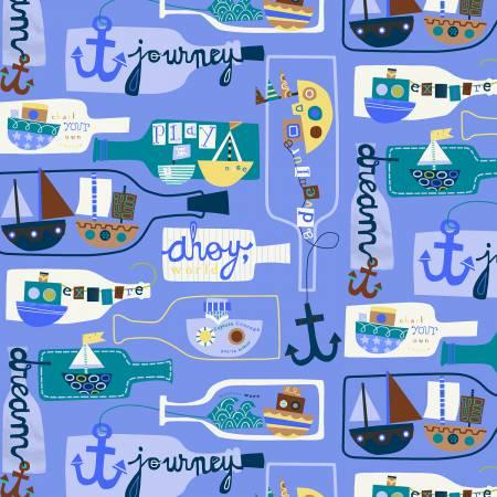 Boats and Messages in Bottles on Periwinkle Blue:  Seaside by Jill McDonald for Windham Fabrics