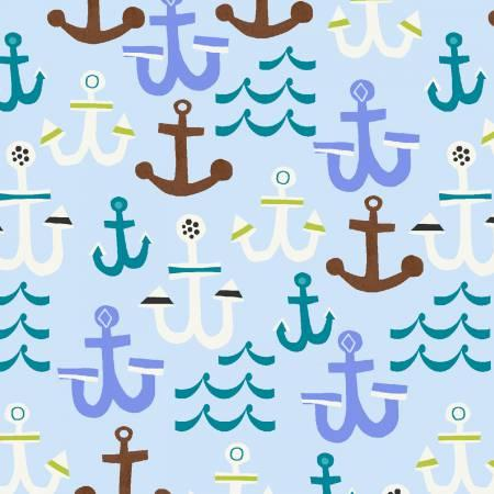 Blue, White, and Brown Anchors on Light Blue:  Seaside by Jill McDonald for Windham Fabrics