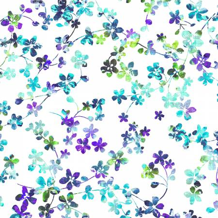 Light Blue/Lavender Watercolor Meadow 108in Wide Back
